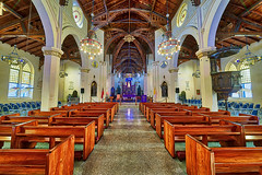 church (abtabt) Tags: trinidadandtobago tt portofspain pos church architecture d700sigma1224 aurora hdr symmetry cathedral aisle ceiling bench