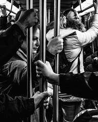 Pole Job... (francis_bellin) Tags: mars olympus noiretblanc monochrome job street photoderue 2018 rue mains travail streetphoto métro montréal