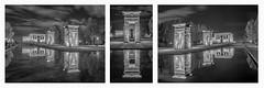 Triptico Templo de Debod (jetepe72) Tags: templo de debod triptico madrid nocturna byn urbana reflejos