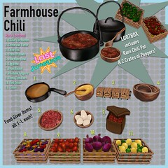 [LJ] Farmhouse Chili for Lootbox (Tala Laval) Tags: chili beans cornbread fresh produce peppers tomatoes lemons onions eggs meat cooking second life food gacha key