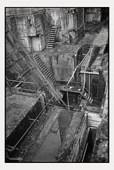 Stairways... (Andre Kurenbach) Tags: ledder industry downstairs stairs stairway bunker concrete dark dangerous depth darkness blackandwhite kodak trix rodinal canon newf1 fd35mmf2
