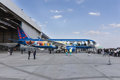 Aerosmurf (kuyttendaele) Tags: flyingbrussels aerosmurf airbusa320 brusselsairlines brusselsairport zaventem vlaanderen belgium be snsmurfs