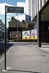 Hill Street, Birmingham, August 1985 (David Rostance) Tags: birmingham advertisinghoardings billboards street