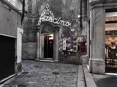 """Fascino"" (Alleys Of Genova - Italy). (giannipaoloziliani) Tags: oldstreet vicolidigenova cappella unesco flickr details walls dark darkness chiesa chapel urbanexplorer urbanstreet lightandshadow neon colorsplash vicoli alleysofgenoa alleys street shop fashion fascino italy italia caruggi capturestreets liguria genova genoa streetphotography nikonphotography nikoncamera nikon"