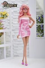 Pink mini-dress for Jem by ELENPRIV (elenpriv) Tags: jem jerrica holograms integrity toys doll handmade clothes elenpriv elena peredreeva 12inch pink minidress