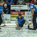 John Morris skip, Catlin Schneider and Tyrel Griffith sweeping, 2017 Tour Challenge, Regina, Sask