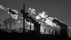 Industrial Clouds (jkiter) Tags: deutschland kraftwerk industrie gegenlicht architektur lünen sw wolken natur architecture germany industry nature schwarzweis bw backlight blackandwhite clouds einfarbig frontlighting monochrome powerplant powerhouse