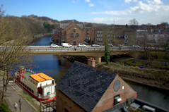 Durham and the River Wear (CEWWtyke) Tags: durham county river wear bridge cars vehicles sky water boat building trees tilt shift tiltshift ts perspective miniature toy town city england britain uk united kingdom dof tree