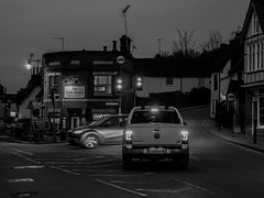 Village Life (Mad Cow Imagery) Tags: canonefs1855mmf3556isstm streetphotography blackandwhite canoneos80d trafficlights traffic lights hill bistro bar publichouse pub junction buildings building intersection sky trees tree cars car road outdoors villagelife village essex stansted stanstedmountfitchet england gb greatbritain uk unitedkingdom