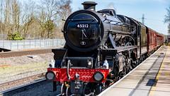 45212 Winchfield 05 April 2016 (7) (BaggieWeave) Tags: winchfield hampshire southwestmainline lswr black5 blackfive 45212 460 cathedralsexpress steam steamengine steamlocomotive steamtrain