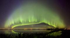Beiseker April 180 Panorama (John Andersen (JPAndersen images)) Tags: alberta aurora beiseker farm night panorama reflections