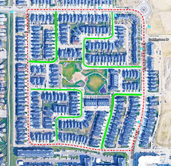 "A neighbourhood of a 64 ha Fused Grid community (UrbanGrammar) Tags: urban ""new urban"" urbanism streets traffic ""pedestrian realm"" ""fused grid"" zones"" ""main street"" culdesac loop neighbourhood ""street patterns"" ""healthy urbanism"" mobility accessibility tranquility safety delight infrastructure connectivity ""urban park"" carfree adaptation mixeduse saddlestone calgary"