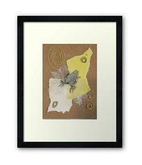 framed-kaeru-frog-origami-paper-collage-artwork-julie-savard (julie_savard) Tags: aceo origami atc orijuju juliesavard paperart miniature pocketart papercraft paperartist artisttradingcards japaneseart traditionnalart