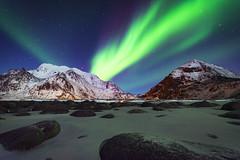 Uttakleiv Aurora (Lukasz Lukomski) Tags: lofoten lofoty norway norwegia landscape aurora uttakleiv beach nikond7200 sigma1020 longexposure lukaszlukomski
