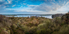 Anglezarke Viewpoint #1, Rivington, Lancashire, North West England (Anthony Lawlor) Tags: panorama panoramic pano landscape sunrise morning lake reservoir water sky clouds path trees spring view wideangle wide sony a77 sonya77 sigma1020mm sigma colour