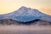 Mount Shasta Misty Pink Sunrise (optimalfocusphotography) Tags: northerncalifornia california usa landscape siskiyoucounty nature mist sunrise fog lake water mountshasta mountain