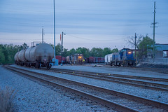 A Phony at Dusk (ajketh) Tags: csx csxt freight train railroad yard job local alco rebuilt truck tractor cayce sc south carolina columbia west rail dusk blue industrial steel scrap cmc recycling