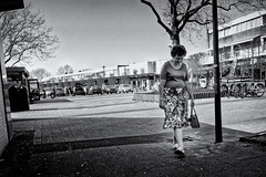 I Always Smile At My Feet When I Wear Slippers (Alfred Grupstra) Tags: blackandwhite people women outdoors urbanscene females city street youngadult lifestyles citylife adult summer men oneperson beauty beautiful monochrome