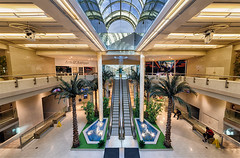 shopping mall (abtabt) Tags: trinidadandtobago tt portofspain pos architecture shopping shoppingcenter d700sigma1224 mall escalator hdr atrium symmetry glass roof sunday afternoon