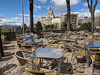 Cool Terrace in March (David J. Greer) Tags: madrid spain travel terrace restaurant table tables chair chairs views spring cold cathedral almudena street cityscape