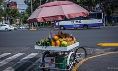 2018 - Mexico City - Avienda Revolucion Food Cart (Ted's photos - Returns Early June) Tags: 2018 cdmx cityofmexico cropped mexicocity nikon nikond750 nikonfx tedmcgrath tedsphotos tedsphotosmexico vignetting crosswalk cart foodcart umbrella cuidaddemexico bus streetscene street food fruit melons shadow shadows pineapple wheels pail bucket curb vehicles