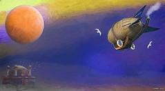 Airship in Flight II (kenmojr) Tags: 3dcoat airship aircraft blimp digital fantasy flight flying future futuristic hexagon3d illustration kenrmorris kenmo painting photoshop scifi sciencefiction steampunk transportation zeppelin modi3d groboto3d