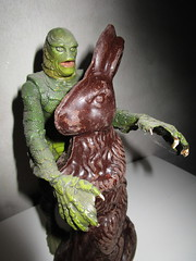Easter Creature and Chocolate Rabbit 9060 (Brechtbug) Tags: easter creature chocolate bunny rabbit 2018 universal pictures studio black lagoon monsters new york city undead zombie cadaver horror terror halloween fright toy toys moody shadow shadows face portrait 1954 movie film hollywood fish man gill gillman collectable collectible type lite light holiday gloomy goth gothic action figure chocolates eeeaster april fools green 04012018