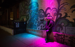 Chinatown Lights (Darren LoPrinzi) Tags: 2016 5d canon5d philadelphia philly urban canon city miii newyears newyearsday street streetphotography chinatown lights night wall graffiti pink blue pinkblue man alone hangingout hangout