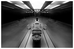 Queen Elizabeth 2 (T.Seifer : )) Tags: blackandwhite blackwhite underground metro subway station hamburg lines lights symmetry architecture whiteandblack whiteblack weisschwarz fx architektur monochrome hafencity ship linien