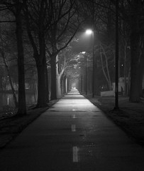 Darkly Lit Path at Night (richardroyle) Tags: blackwhite spooky scary frightening experimental night different lamps black white contrast beautiful interesting unique pretty lighting light dark shadows mystery ambiguous vague mist fog boston urban path woods trees rural lake sky nighttime evening midnight moon highlights camera digital dslr nikon d3100 highiso iso 55mm f80 tripod photography photograph photographer amateur student college university massachusetts glow reflection river stream water mood tone moody bikepath winter freezing cold art artsy artistic