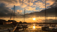 Dell Quay Sunset...... (inkslinger15) Tags: blue boats clouds dellquay orange sky sunset sussex water westsussex yellow reflectinglight