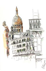Sacré-coeur, Paris (velt.mathieu) Tags: paris sketch watercolor croquis aquarelle