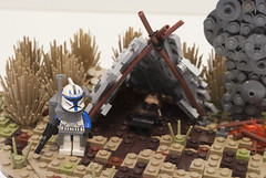 Clone Wars: Jedi Crash (Ben Cossy) Tags: the clone wars star maridun captain rex anakin skywalker smoke tent moc afol vig diorama prequels fire camp