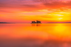 sunset 3934 (junjiaoyama) Tags: japan sunset sky light cloud weather landscape orange contrast color lake island water nature spring reflection calmness