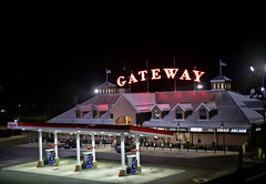 Gateway Travel Plaza (raymondclarkeimages) Tags: rci raymondclarkeimages 8one8studios usa google yahoo flickr canon 6d gatewaytravelplaza fuel food travel souvenirs giftshop breezewood pennsylvania truckstop fastfood parking sign night gas building 50mm18stm outdoor travelplaza public stores shop
