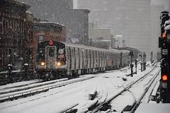 Snowy Elevated (CrispyBassist) Tags: railroad railway train track transit newyorkcity newyork newyorkcitysubway newyorkcitytransit nyc nyct nycta brooklyn snow snowstorm blizzard signal subway