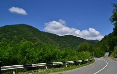 Cranke and green hills (МирославСтаменов) Tags: russia lazarevskoye sochi caucasus road hill mountain ridge forest cloudscape greenery sky