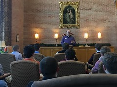 Fr. Michael Kesicki offers guests at a Seminary Discernment Retreat a conference on seminary formation (in the Library of St. Mark Seminary, on March 24, 2018).