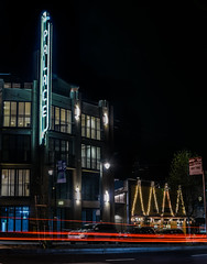 the columbus palace (pbo31) Tags: sanfrancisco california nikon d810 night dark march 2018 spring boury pbo31 black color northbeach columbusavenue lightstream motion traffic roadway palace neon sign apartment cafe