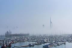 Sunny and foggy Portsmouth Harbour from Gosport (Explored) (skipnclick) Tags: fog mist portsmouth gosport marina spinnaker tower lipstick harbour boats building water sunny bright ships sea explore