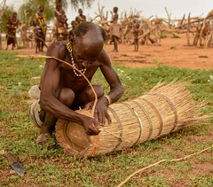 Beehive Maker (Rod Waddington) Tags: africa african afrique afrika äthiopien ethiopia ethiopian ethnic etiopia ethnicity ethiopie etiopian omovalley omo outdoor omoriver turmi hamer hamar tribe traditional tribal beehive maker craftman craft honey bees village knife grass natural material man older elder people handmade