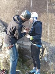 helping untie knot (squeezemonkey) Tags: northwales snowdonia winter castlestafftrip tremadog tradclimbing outdoors climbers doleriterock rope craigpantifan uppertier crag