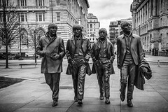 82/365: The Fab Four (judi may) Tags: 365the2018edition 3652018 day82365 23mar18 100xthe2018edition 100x2018 image23100 monochrome mono blackandwhite liverpool thebeatles thefabfour sculptures canon7d merseyside