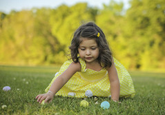 Analiyah (Leycide) Tags: easter analiyah fernandez girl little pink jacket green outside grass basket eggs bunny yellow