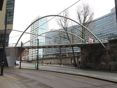 Ped Bridge (TheTransitCamera) Tags: manchester piccadilly station rail train travel pedestrian overpass bridge arch