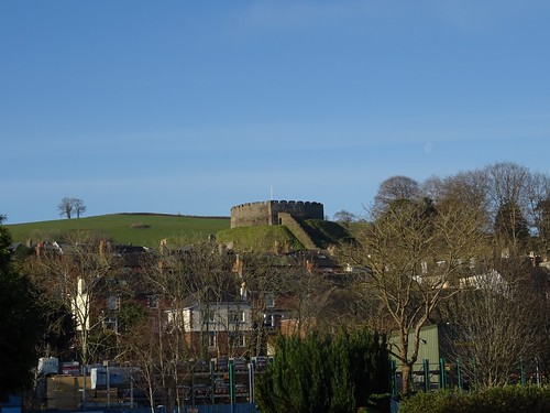 Totnes Castle, morning moon