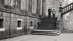 just like when we were young (kestercrosberger) Tags: monochrome bnw black white grey contrast couple love old stairs walk architecture urban dresden sony dsc rx100ii