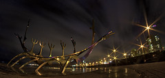 Golden Viking Ship (Trigger1980) Tags: iceland water walking wet nikon nikond7000 nite night lights sculpture sun sunset voyager sólfar sólarlag reykjavik sjór sea beach ocean