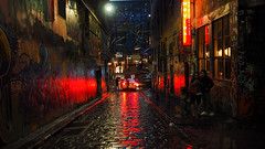 Night Light (RP Major) Tags: night hosier lane melbourne street people reflection light red city cobblestones olympus17mmf18
