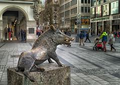 Kaufingerstrasse in München (Janos Kertesz) Tags: statue sculpture art city architecture monument building europe stone symbol tradition bronze urban wildschwein jagdmuseum fischereimuseum munich münchen bayern bavaria kaufingerstrasse
